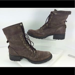 Timberland brown leather canvas lace up boots